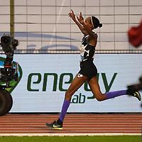 5th September 2020, Brussels, Netherlands; Memorial van Damme  ifan Hassan celebrates winning the Hour race women