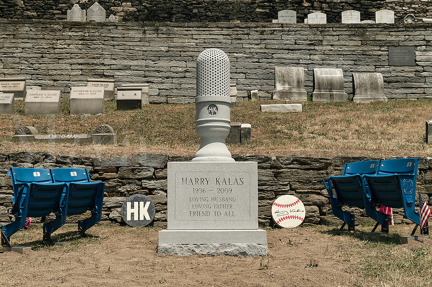 Burial site of Harry Kalas, the voice of the Philadelphia Phillies, USA