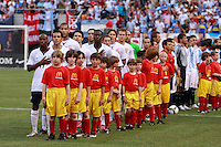 The United States starters during the playing of the USA National Anthem. The men's national teams of the United States and Argentina played to a 0-0 tie during an international friendly at Giants Stadium in East Rutherford, NJ, on June 8, 2008.