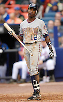 3 April 2006: Alfonso Soriano, outfielder for the Washington Nationals, at bat during Opening Day play against the New York Mets at Shea Stadium, in Flushing, New York. The Mets defeated the Nationals 3-2 to lead off the 2006 MLB season...Mandatory Photo Credit: Ed Wolfstein Photo..
