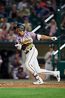 Rochester Red Wings third baseman Leonardo Reginatto (20) follows through on a swing during a game against the Lehigh Valley IronPigs on June 29, 2018 at Frontier Field in Rochester, New York.  Lehigh Valley defeated Rochester 2-1.  (Mike Janes/Four Seam Images)