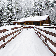This is the image for March in the 2016 White Mountains New Hampshire calendar. Ranger Headquarters at Lincoln Woods Trailhead in Lincoln, New Hampshire USA. The calendar can be purchased here: http://bit.ly/17LpoRV