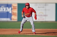 Palm Beach Cardinals Justin Toerner (7) leads off first base during a Florida State League game against the Lakeland Flying Tigers on May 22, 2019 at Publix Field at Joker Marchant Stadium in Lakeland, Florida.  Palm Beach defeated Lakeland 8-1.  (Mike Janes/Four Seam Images)
