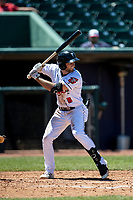 Lansing Lugnuts shortstop Max Schuemann (8) at bat on May 30, 2021 against the Great Lakes Loons at Jackson Field in Lansing, Michigan. (Andrew Woolley/Four Seam Images)