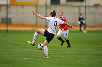Heather O'Reilly traps the ball. The USA defeated Norway 2-1 at Olhao Stadium on February 26, 2010 at the Algarve Cup.