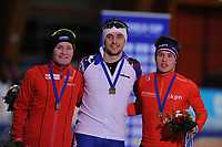 SPEEDSKATING: ERFURT: 19-01-2018, ISU World Cup, Podium 1500m Men A Division, Sverre Lunde Pedersen (NOR), Denis Yuskov (RUS), Marcel Bosker (NED), photo: Martin de Jong