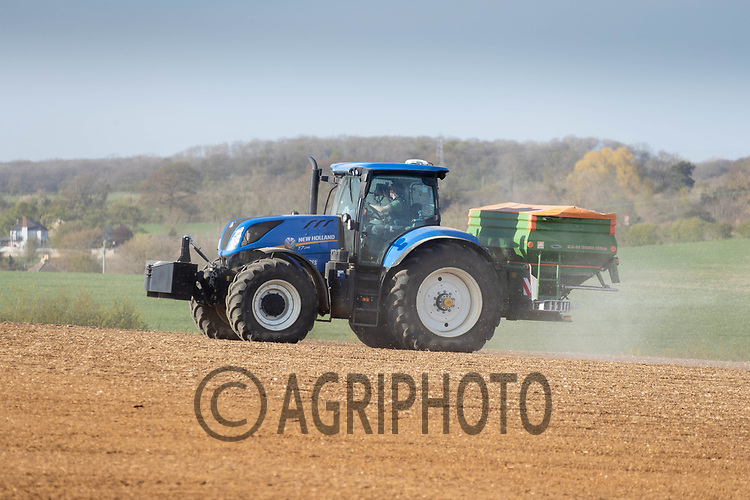 26-4-2021 Applying granular nitrogen to Spring drilled pre-emerged crop<br /> ©Tim Scrivener Photographer 07850 303986<br />      ....Covering Agriculture In The UK....