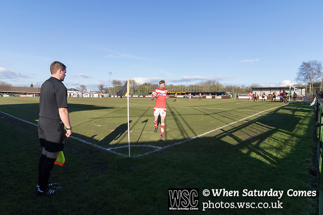 Rushall Olympic 1 Workingon 0, 17/02/2018. Dales Lane, Northern Premier League Premier Division. Connor Tinnion of Workington prepares to take a corner. Photo by Paul Thompson. Rushall Olympic 1 Workingon 0, Northern Premier League Premier Division, 17th February 2018. Rushall is a former mining village now part of the northern suburbs of Walsall.