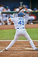 Matt Cogen (49) of the Ogden Raptors bats against the Orem Owlz at Lindquist Field on August 4, 2018 in Ogden, Utah. The Owlz defeated the Raptors 15-12. (Stephen Smith/Four Seam Images)