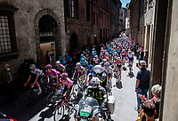 peloton roll-outat with Maglia Rosa / Pink Jersey / GC Leader Egan Bernal (COL/Ineos Grenadiers) at the front the race start in Siena<br /> <br /> 104th Giro d'Italia 2021 (2.UWT)<br /> Stage 12 from Siena to Bagno di Romagna (212km)<br /> <br /> ©kramon