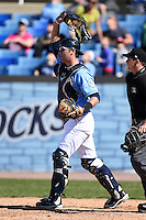 Wilmington Blue Rocks catcher Cam Gallagher (35) during a game against the Myrtle Beach Pelicans on April 27, 2014 at Frawley Stadium in Wilmington, Delaware.  Myrtle Beach defeated Wilmington 5-2.  (Mike Janes/Four Seam Images)