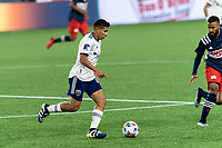 FOXBOROUGH, MA - APRIL 24: Edison Flores #10 of D.C. United brings the ball forward during a game between D.C. United and New England Revolution at Gillette Stadium on April 24, 2021 in Foxborough, Massachusetts.