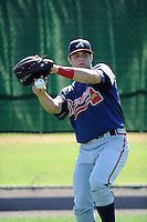 Outfielder Connor Oliver (7) of the Atlanta Braves farm system in a Minor League Spring Training workout on Monday, March 16, 2015, at the ESPN Wide World of Sports Complex in Lake Buena Vista, Florida. (Tom Priddy/Four Seam Images)