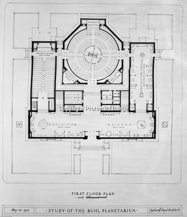 Pittsburgh PA:  View of a drawing created by Ingram & Boyd Architects of the new Buhl Planetarium.  This view is the proposed 1st-floor layout of the planetarium. The project was completed in 1939.  The Buhl Planetarium was built with monies from the Buhl Foundation; a foundation created by the wealthy North Side clothier Henry Buhl of Boggs and Buhl department store fame.  Brady Stewart was selected for the job due to his specialized equipment; an 8x10 Dierdorff camera, and his expertise in lighting and photographing large renderings and drawings.