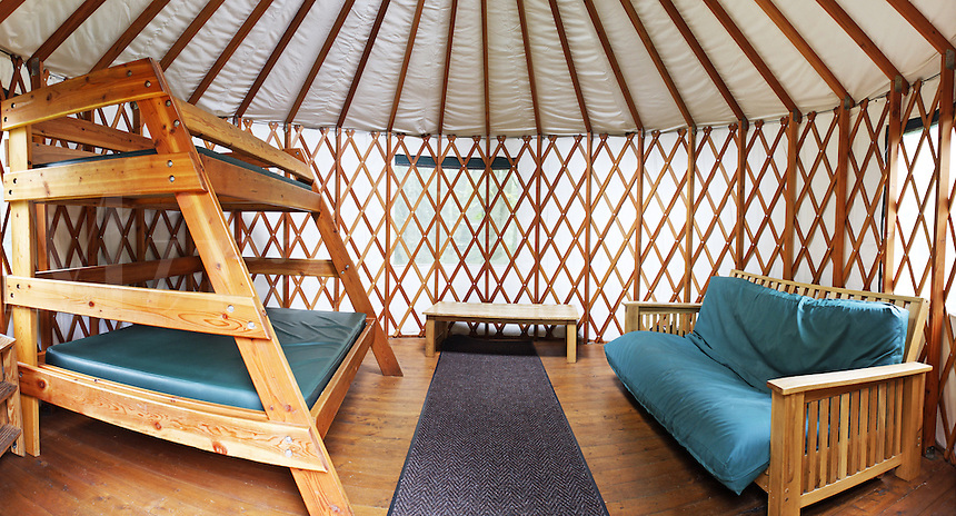 Interior of rental yurt at Kayak Point County Park, Snohomish County, Washington, USA