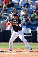 Shortstop Yangervis Solarte (89) of the New York Yankees during a spring training game against the Philadelphia Phillies on March 1, 2014 at Steinbrenner Field in Tampa, Florida.  New York defeated Philadelphia 4-0.  (Mike Janes/Four Seam Images)