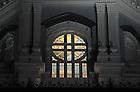 Main Building detail at dusk..Photo by Matt Cashore/University of Notre Dame
