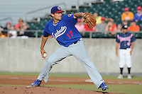 Chattanooga Lookouts Pitcher Nathan Eovaldi #17 delivers a pitch during a game against the Tennessee Smokies at Smokies Park on June 18, 2011 in Kodak, Tennessee.  Chattanooga defeated Tennessee 5-3.  (Tony Farlow/Four Seam Images)