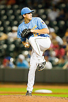 Carolina League All-Star Kyle Hendricks #27 of the Myrtle Beach Pelicans in action against the California League All-Stars during the 2012 California-Carolina League All-Star Game at BB&T Ballpark on June 19, 2012 in Winston-Salem, North Carolina.  The Carolina League defeated the California League 9-1.  (Brian Westerholt/Four Seam Images)
