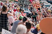 """Rafał Majka (POL/BORA-hansgrohe) coming through """"Dutch Corner"""" (#7) on Alpe d'Huez<br /> <br /> Stage 12: Bourg-Saint-Maurice / Les Arcs > Alpe d'Huez (175km)<br /> <br /> 105th Tour de France 2018<br /> ©kramon"""