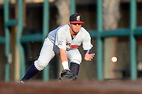 Brevard County Manatees first baseman Nick Ramirez #33 during a game against the Lakeland Flying Tigers on April 10, 2013 at Joker Marchant Stadium in Lakeland, Florida.  Brevard County defeated Lakeland 7-6.  (Mike Janes/Four Seam Images)