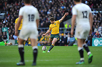 Bernard Foley of Australia kicks a conversion during the Old Mutual Wealth Series match between England and Australia at Twickenham Stadium on Saturday 3rd December 2016 (Photo by Rob Munro)