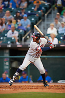 Gwinnett Braves first baseman Carlos Franco (58) at bat during a game against the Buffalo Bisons on August 19, 2017 at Coca-Cola Field in Buffalo, New York.  Gwinnett defeated Buffalo 1-0.  (Mike Janes/Four Seam Images)