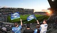 3rd April 2021; Eden Park, Auckland, New Zealand;  General view, fans and supporters. Blues v Hurricanes Super Rugby Aotearoa. Eden Park, Auckland. New Zealand. Saturday 3 April 2021.