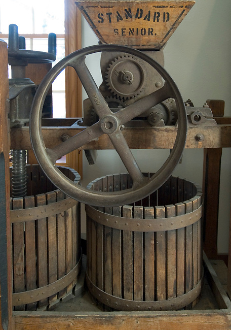 A wine crusher and press are displayed at Wollersheim winery, Prarie du Sac, Wisconsin