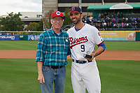 Buffalo Bisons Jason Leblebijian (9) is presented with the Booster Club Award for Favorite Player before a game against the Pawtucket Red Sox on August 31, 2017 at Coca-Cola Field in Buffalo, New York.  Buffalo defeated Pawtucket 4-2.  (Mike Janes/Four Seam Images)