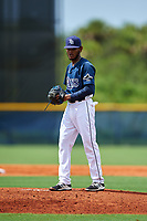 GCL Rays starting pitcher Miguel Lara (45) gets ready to deliver a pitch during the first game of a doubleheader against the GCL Twins on July 18, 2017 at Charlotte Sports Park in Port Charlotte, Florida.  GCL Twins defeated the GCL Rays 11-5 in a continuation of a game that was suspended on July 17th at CenturyLink Sports Complex in Fort Myers, Florida due to inclement weather.  (Mike Janes/Four Seam Images)