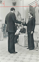 1979 FILE PHOTO - ARCHIVES -<br /> <br /> Joe Clark; sworn in by Privy Council clerk Michael Pitfield<br /> Bezant, Graham<br /> Picture, 1979, <br /> <br /> 1979,<br /> <br /> PHOTO : Graham Bezant - Toronto Star Archives - AQP