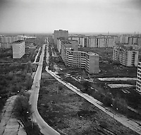 Chernobyl, Ukraine, Ocober 1995..The explosion at the Chernobyl Nuclear Power Plant on April 26 1986 was the worst nuclear accident in history..The city of Pripyat, within sight of the power plant, and formerly the home of Chernobyl staff and thousands of others, lies deserted.