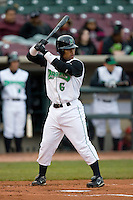 Dave Sappelt #6 of the Dayton Dragons at bat versus the Great Lakes Loons at Fifth Third Field April 21, 2009 in Dayton, Ohio. (Photo by Brian Westerholt / Four Seam Images)