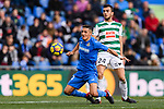 Jordan Moreno of SD Eibar (R) in action against Fayçal Fajr of Getafe CF (L) during the La Liga 2017-18 match between Getafe CF and SD Eibar at Coliseum Alfonso Perez Stadium on 09 December 2017 in Getafe, Spain. Photo by Diego Souto / Power Sport Images
