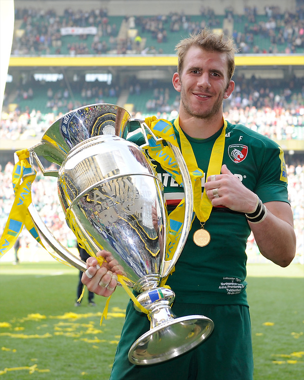Tom Croft of Leicester Tigers with the trophy after the Aviva Premiership Final between Leicester Tigers and Northampton Saints at Twickenham Stadium on Saturday 25th May 2013 (Photo by Rob Munro)