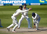 30th May 2021; Emirates Old Trafford, Manchester, Lancashire, England; County Championship Cricket, Lancashire versus Yorkshire, Day 4; Luke Wells of Lancashire gets his fingers on a shot from Harry Dukeof Yorkshire but cannot hold on as Lancashire keeper looks on from behind the stumps