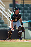 Greensboro Grasshoppers catcher Will Allen (33) on defense against the Kannapolis Intimidators at Kannapolis Intimidators Stadium on August 5, 2018 in Kannapolis, North Carolina. The Grasshoppers defeated the Intimidators 2-1 in game one of a double-header.  (Brian Westerholt/Four Seam Images)