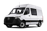 Stock pictures of low aggressive front three quarter view of a 2019 Mercedes Benz Sprinter Base 4 Door Combi