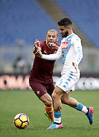Roma's Bruno Peres, left, and Napoli's Lorenzo Insigne fight for the ball during the Serie A soccer match between Roma and Napoli at the Olympic stadium, 4 March 2017.<br /> UPDATE IMAGES PRESS/Isabella Bonotto