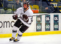3 January 2009: Colgate Raiders' forward David McIntyre, a Junior from Pefferlaw, Ontario, in action against the Ferris State Bulldogs during the consolation game of the 2009 Catamount Cup Ice Hockey Tournament hosted by the University of Vermont at Gutterson Fieldhouse in Burlington, Vermont. The two teams battled to a 3-3 draw, with the Bulldogs winning a post-game shootout 2-1, thus placing them third in the tournament...Mandatory Photo Credit: Ed Wolfstein Photo