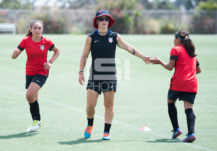 Carson, CA - August 2, 2017: Girls Fantasy Camp trains on the StubHub Center fields.