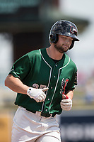 Great Lakes Loons designated hitter Cody Thomas (25) jogs around the bases after hitting a home run against the Bowling Green Hot Rods during the Midwest League baseball game on June 4, 2017 at Dow Diamond in Midland, Michigan. Great Lakes defeated Bowling Green 11-0. (Andrew Woolley/Four Seam Images)