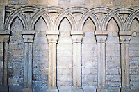 Durham: Durham Cathedral--aisle detail. Photo '90.