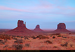 West and East Mittens and Merrick Butte at Dusk, Monument Valley Navajo Tribal Park, Navajo Nation Reservation, Utah/Arizona Border