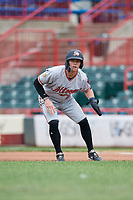 Altoona Curve Mitchell Tolman (19) leads off first base during an Eastern League game against the Erie SeaWolves on June 5, 2019 at UPMC Park in Erie, Pennsylvania.  Altoona defeated Erie 6-2.  (Mike Janes/Four Seam Images)