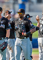 1 March 2017: Miami Marlins outfielder Isaac Galloway celebrates a Spring Training win against the Houston Astros at the Ballpark of the Palm Beaches in West Palm Beach, Florida. The Marlins defeated the Astros 9-5 in Grapefruit League play. Mandatory Credit: Ed Wolfstein Photo *** RAW (NEF) Image File Available ***