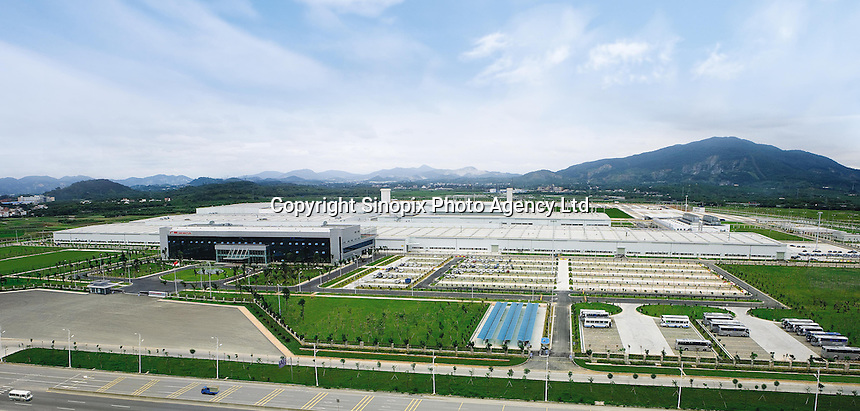 The overview of  the new Guangzhou Honda Automobile Co. Ltd. factory. The plant built at a cost of 140 million US$ is one of the most advanced car plants in the world. It has a state of the art production line as well as the world's first total water re-cycling system..