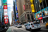 """NEW YORK, NEW YORK - SEPTEMBER 3: NYPD cars patrol at Times Square on September 3, 2020 in New York. U.S. President Trump has ordered to the federal government to begin the process to defund NYC and three other cities where protest """"lawless"""" were allowed and police budgets were cut, rising violent crime. (Photo by Eduardo MunozAlvarez/VIEWpress via GettyImages)"""