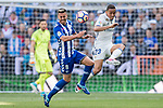 Danilo Luiz Da Silva of Real Madrid fights for the ball with Victor Camarasa Ferrando of Deportivo Alaves during their La Liga match between Real Madrid and Deportivo Alaves at the Santiago Bernabeu Stadium on 02 April 2017 in Madrid, Spain. Photo by Diego Gonzalez Souto / Power Sport Images